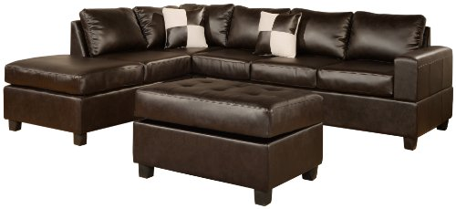 Charmant Bobkona Soft Touch Reversible Bonded Leather Match 3 Piece Sectional Sofa  Set